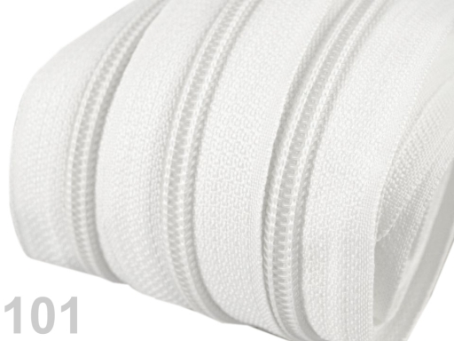 Zips špirálový 5mm metráž pre bežce typu POL White 5m