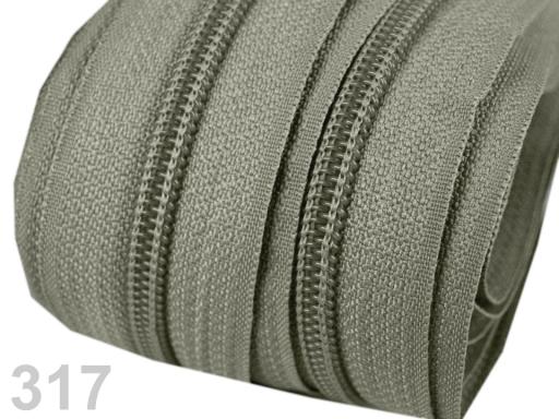 Zips špirálový 5mm metráž pre bežce typu POL Zinc 5m