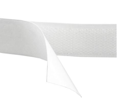 Suchý zips samolepiaci šírka 20 mm biely háčik White 25m