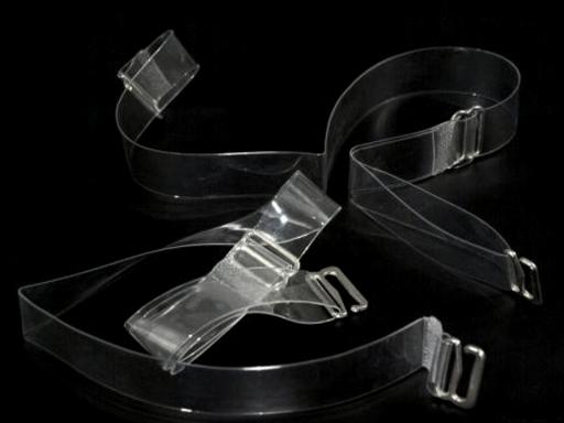 Ramienka silikónové šírka 10 mm s kovovým zapínaním Transparent 12pár