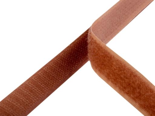 Suchý zips háčik + plyš šírka 20mm stredne hnedý Adobe 600m