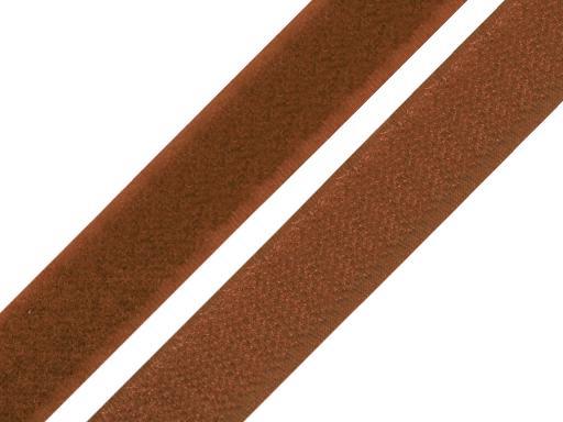 Suchý zips háčik + plyš šírka 20mm stredne hnedý Adobe 25m
