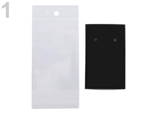 Karta na náušnice s visačkou a sáčikom 50x80 mm Black 100sada