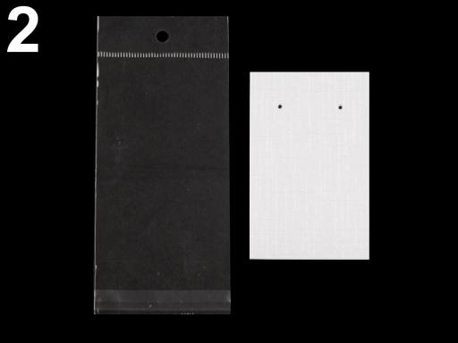 Karta na náušnice s visačkou a sáčikom 50x80 mm biela perleť 100sada