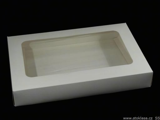 Krabica papierová s priehľadom biela 1ks