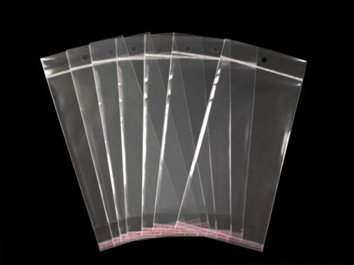 Celofánové sáčky s lepiacou lištou a závesom 11x20 cm Transparent 1000ks