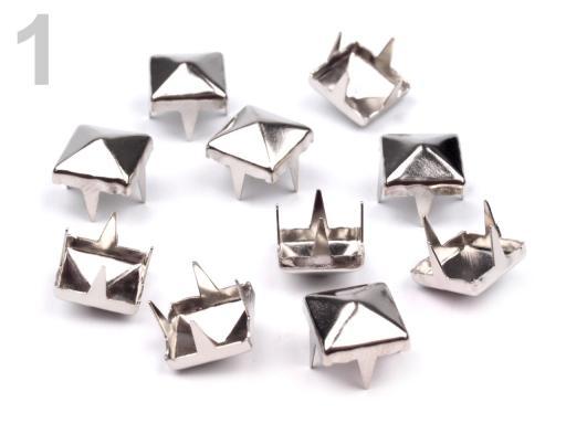 Cvočky na oblečenie 7x7mm pyramida nikel 500ks
