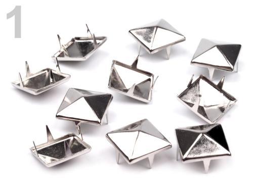 Cvočky na oblečenie 12x12mm pyramida nikel 500ks