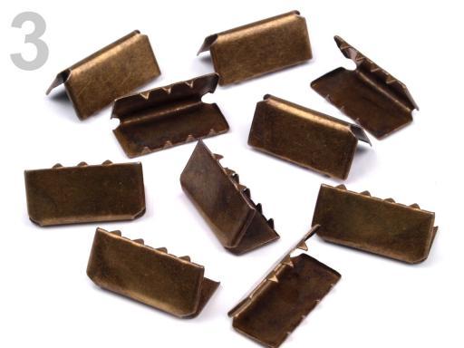 Koncovka kovová šírka 20 mm staromosadz 10ks