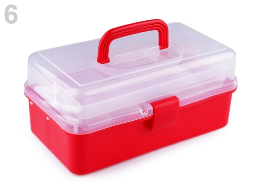 Plastový box / kufrík 20x33x15 cm rozkladací červená 1ks