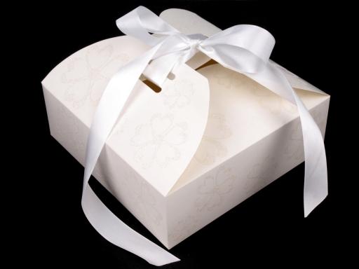 Papierová krabička so stuhou a glitrami