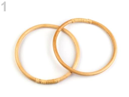 Bambusové rúčky na tašky / lapač snov Ø15; 17 cm bambus sv. 4ks