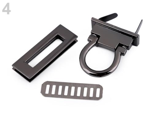 Zapínanie na kabelku 17x45 mm nikel čierny 1sada