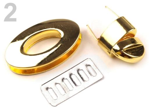 Zapínanie na kabelku 23x37 mm otočné zlatá 1sada