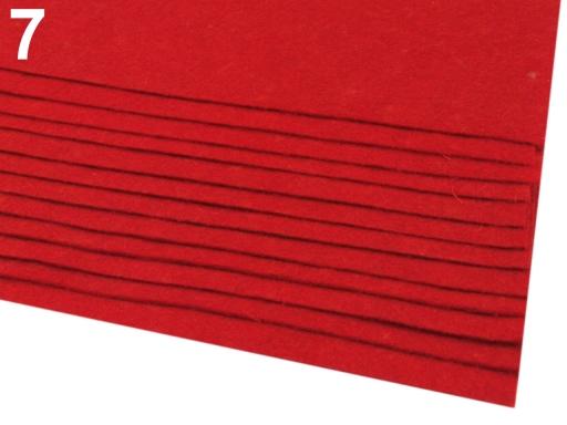 Látková dekoratívna plsť / filc 20x30 cm malinová 12ks