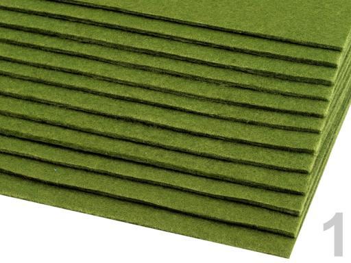 Látková dekoratívna plsť / filc 20x30 cm zelená stepná 12ks