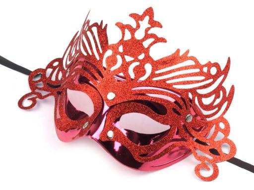 Karnevalová maska červená 1ks