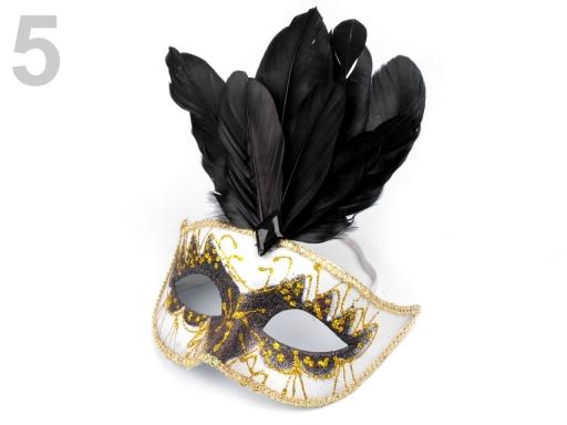 Karnevalová maska GLITRY s perím modrá azuro 6ks