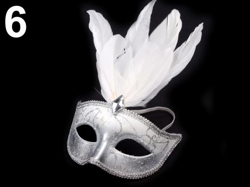 Karnevalová maska GLITRY s perím čierna 6ks