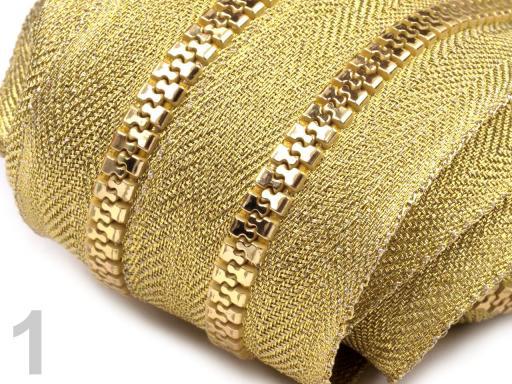 Zips kosticový 5mm metráž zlato a striebro zlatá 25m