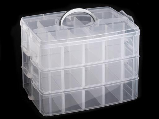 Plastový box / kufrík 3 poschodový s rukoväťou Transparent 1ks