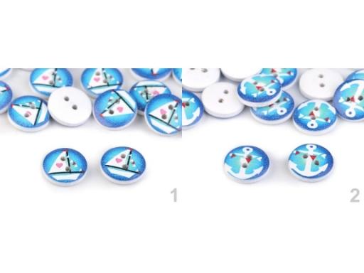 Drevený dekoračný gombík námornícky tyrkys 10ks