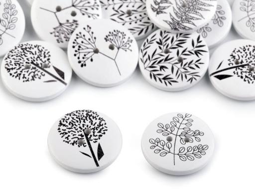 Drevený dekoračný gombík rastliny