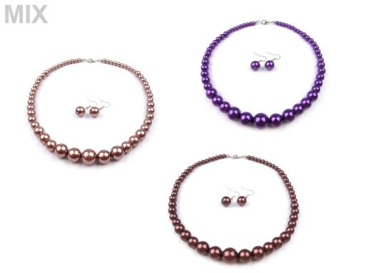 Perlový náhrdelník a náušnice, sada slivková 1sada