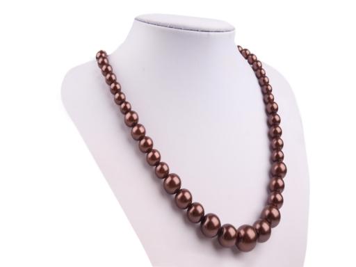 Perlový náhrdelník a náušnice, sada hnedá sv. 1sada