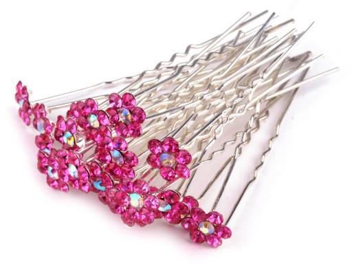 Štrasová vlásenka kvet Ø6 mm crystal 20ks