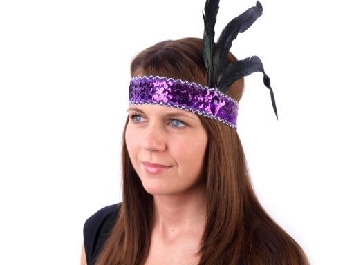 Karnevalová čelenka flitrová s perím retro biela 4ks