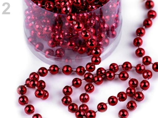 Perličková vianočná reťaz Ø6mm červená 50ks