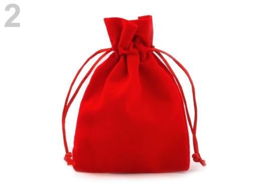 Darčekové vrecúško 8,5x11 cm zamatové červená 10ks