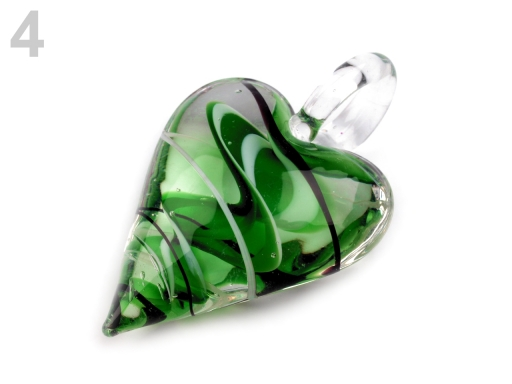 Sklenený prívesok srdce 30x45 mm zelená pastelová 1ks