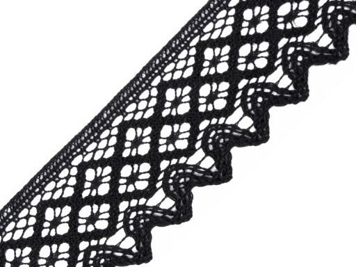 Krajka bavlnená šírka 68mm paličkovaná ČESKÝ VÝROBOK Black 30m