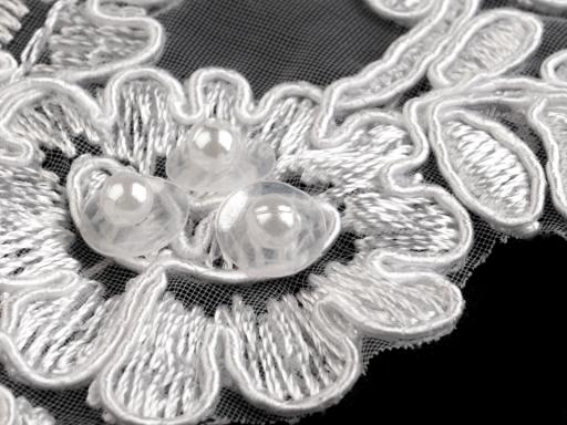 Monofilová aplikácia / vsádka 7x18 cm s flitrami a perlami biela 2ks