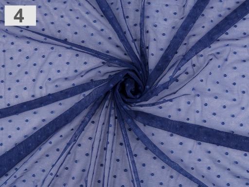 Tyl elestický PAD s bodkami modrá tmavá 1m