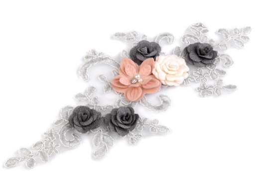 Monofilová aplikácia / vsádka 3D 11x26 cm s kvetmi strieborná 1ks