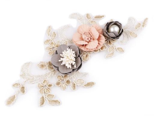 Monofilová aplikácia / vsadka 3D 12x23 cm s kvetmi pudrová 1ks