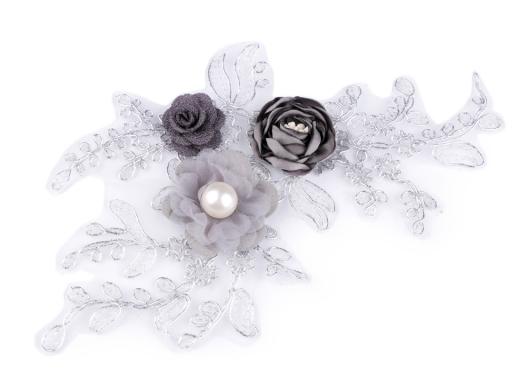 Monofilová aplikácia / vsadka 3D 12x23 cm s kvetmi šedá 1ks