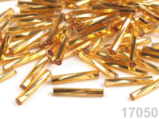 Rokajl Preciosa točené tyčky 15 mm zlatá svetlá 20g