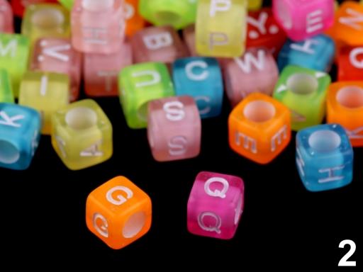 Plastové koráliky kocka 6 mm mix farieb 1sáčok