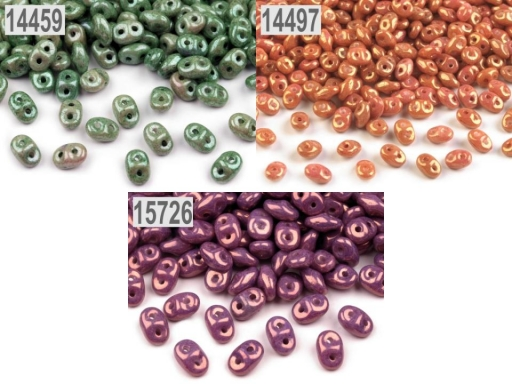 Dvojdierkový rokajl Matubo SuperDuo perleť 2,5x5 mm šedá 100g
