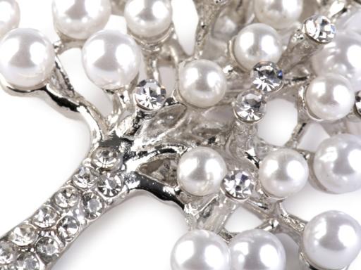 Brošňa s perlami a brúsenými kamienkami strom crystal 3ks