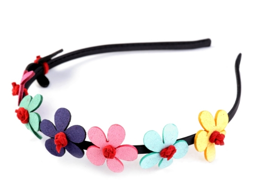 Čelenka do vlasov s kvetmi multikolor 1ks