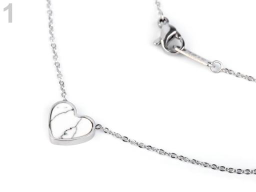 Náhrdelník srdce z nerezovej ocele biela 1ks