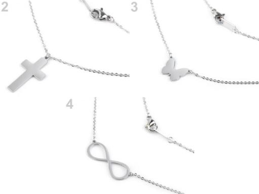 Náhrdelník srdce, krížik, motýľ, nekonečno z nerezovej ocele platina 1ks