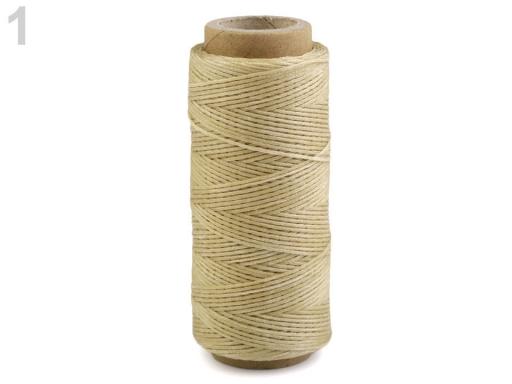 Voskovaná polyesterová niť šírka 1 mm béžová 1ks