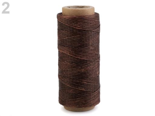 Voskovaná polyesterová niť šírka 1 mm hnedá 1ks