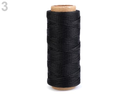 Voskovaná polyesterová niť šírka 1 mm čierna 1ks